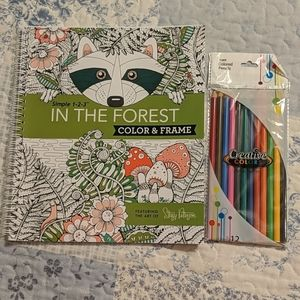 In the Forest coloring book with colored pencils